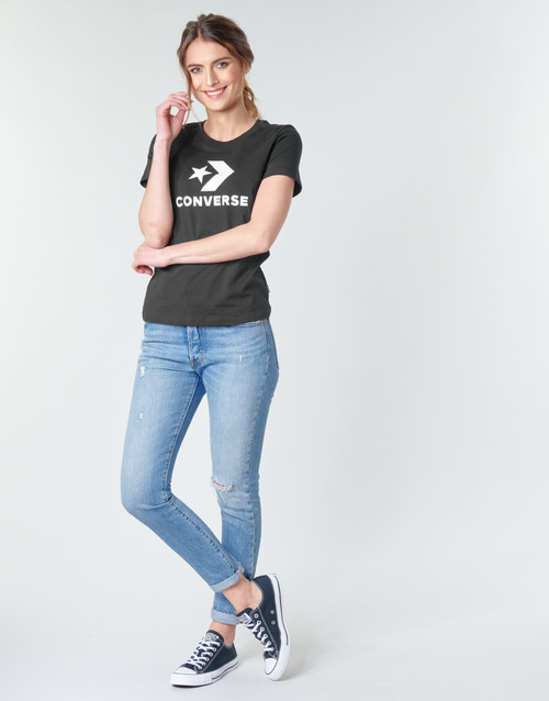 Converse Star Chevron Tee Black - Ilmainen Toimitus- Vaatteet Lyhythihainen T-paita Naiset 20