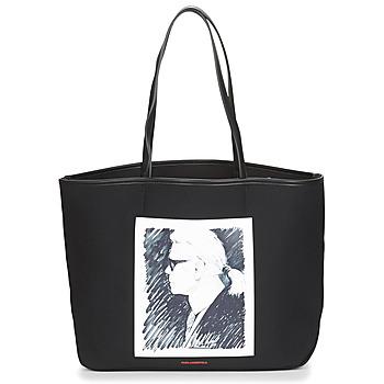 laukut Ostoslaukut Karl Lagerfeld KARL LEGEND CANVAS TOTE Black