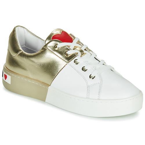 kengät Naiset Matalavartiset tennarit Love Moschino BI-COLOR SHOES White / Kulta