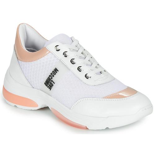 kengät Naiset Matalavartiset tennarit Love Moschino RUN LOVE White / Pink