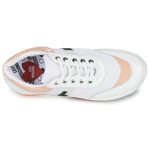 Love Moschino Run White / Pink - Ilmainen Toimitus- Kengät Matalavartiset Tennarit Naiset 153