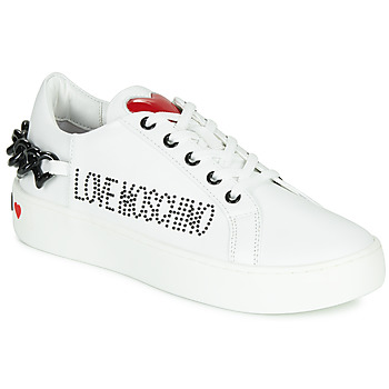 kengät Naiset Matalavartiset tennarit Love Moschino CHAIN HEART White