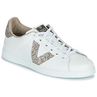 kengät Naiset Matalavartiset tennarit Victoria TENIS PIEL GLITTER White / Pink