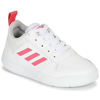 kengät Tytöt Matalavartiset tennarit adidas Performance TENSAUR K Valkoinen / Vaaleanpunainen