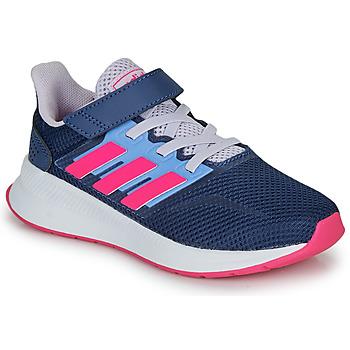 kengät Naiset Matalavartiset tennarit adidas Performance RUNFALCON C Blue / Pink