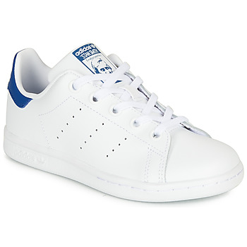 kengät Lapset Matalavartiset tennarit adidas Originals STAN SMITH C White / Blue