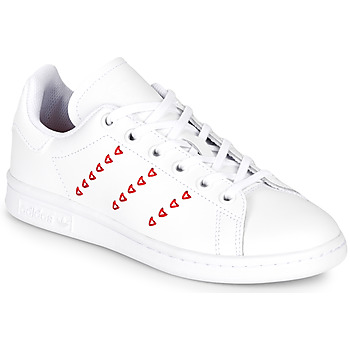kengät Tytöt Matalavartiset tennarit adidas Originals STAN SMITH J White / Red / Cur