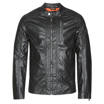 vaatteet Miehet Nahkatakit / Tekonahkatakit Guess QUILTED ECO LEATHER JACKET Black