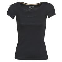 vaatteet Naiset Lyhythihainen t-paita Esprit T-SHIRTS LOGO Musta