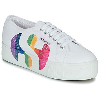 kengät Naiset Matalavartiset tennarit Superga 2790-COTWPRINTEDLOGOGLITTER White