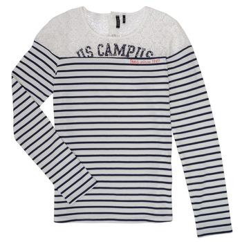 vaatteet Tytöt T-paidat pitkillä hihoilla Ikks DELLYSE White / Black
