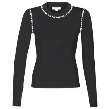 vaatteet Naiset Neulepusero MICHAEL Michael Kors MK TRIM LS CREW Black