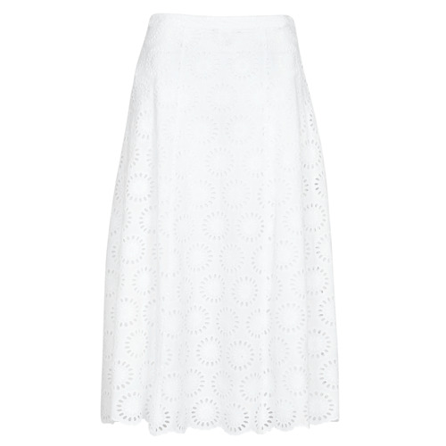vaatteet Naiset Hame MICHAEL Michael Kors FLORAL EYLT LNG SKIRT Valkoinen