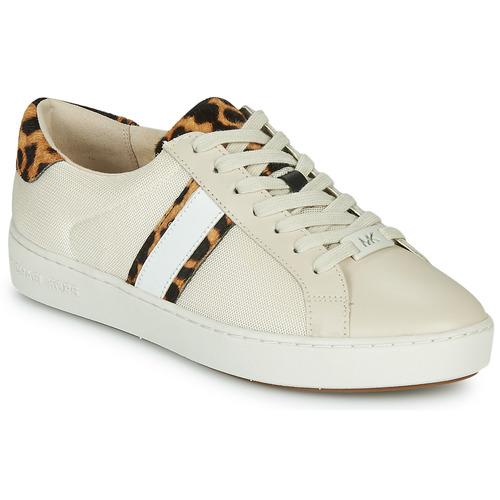 kengät Naiset Matalavartiset tennarit MICHAEL Michael Kors IRVING STRIPE LACE UP Ecru / Leopardi