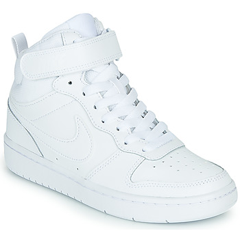 kengät Lapset Korkeavartiset tennarit Nike COURT BOROUGH MID 2 GS White