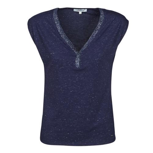 vaatteet Naiset Lyhythihainen t-paita Morgan DMAYA Laivastonsininen