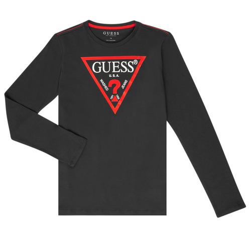 vaatteet Pojat T-paidat pitkillä hihoilla Guess HERVE Black