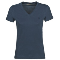 vaatteet Naiset Lyhythihainen t-paita Tommy Hilfiger HERITAGE V-NECK TEE Laivastonsininen