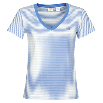 vaatteet Naiset Lyhythihainen t-paita Levi's PERFECT VNECK White / Blue