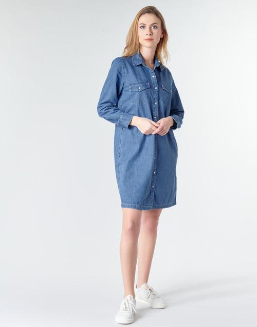 Levi's Selma Dress Blue - Ilmainen Toimitus- Vaatteet Lyhyt Mekko Naiset 89