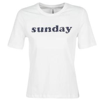 vaatteet Naiset Lyhythihainen t-paita Only ONLSANNE White