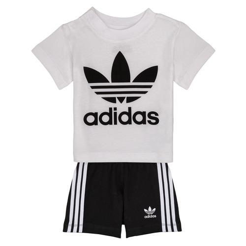 vaatteet Lapset Kokonaisuus adidas Originals CAROLINE Valkoinen / Musta