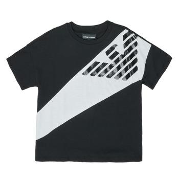 vaatteet Pojat Lyhythihainen t-paita Emporio Armani Blaise Musta / Valkoinen