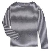 vaatteet Tytöt T-paidat pitkillä hihoilla Only KONNELLY White / Laivastonsininen