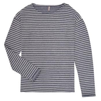 vaatteet Tytöt T-paidat pitkillä hihoilla Only KONNELLY Valkoinen / Laivastonsininen