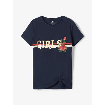 vaatteet Tytöt Lyhythihainen t-paita Name it NKFBARBRA Laivastonsininen