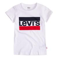 vaatteet Tytöt Lyhythihainen t-paita Levi's SPORTSWEAR LOGO TEE Valkoinen