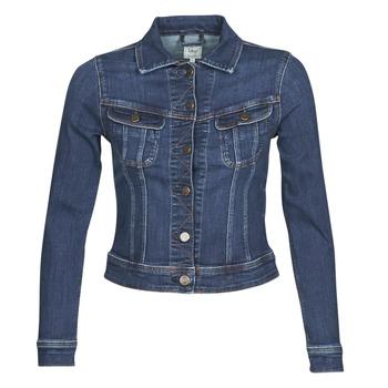 vaatteet Naiset Farkkutakki Lee SLIM RIDER JACKET Sininen / Laivastonsininen