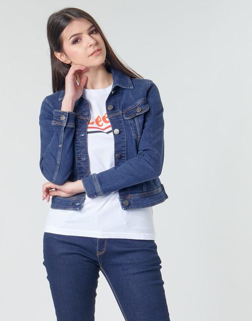 Lee Slim Rider Jacket Pimeä / Hunt - Ilmainen Toimitus- Vaatteet Farkkutakki Naiset 81