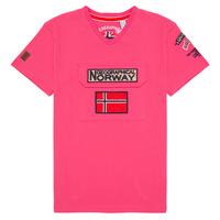 vaatteet Pojat Lyhythihainen t-paita Geographical Norway JIRI Vaaleanpunainen