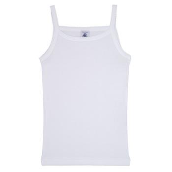 vaatteet Tytöt Hihattomat paidat / Hihattomat t-paidat Petit Bateau 53295 White