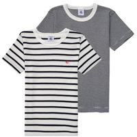 vaatteet Pojat Lyhythihainen t-paita Petit Bateau 53333 White / Blue