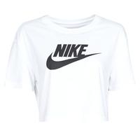 vaatteet Naiset Lyhythihainen t-paita Nike W NSW TEE ESSNTL CRP ICN FTR White / Black