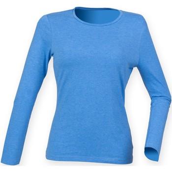 vaatteet Naiset T-paidat pitkillä hihoilla Skinni Fit SK124 Heather Blue