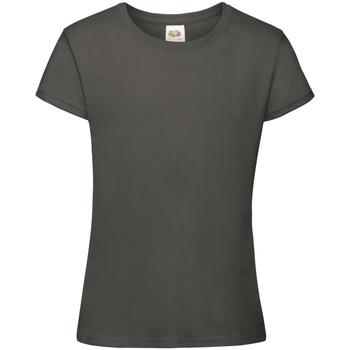 vaatteet Tytöt Lyhythihainen t-paita Fruit Of The Loom 61017 Light Graphite