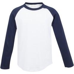 vaatteet Lapset T-paidat pitkillä hihoilla Skinni Fit SM271 White / Oxford Navy