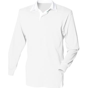 vaatteet Miehet Pitkähihainen poolopaita Front Row FR100 White/White