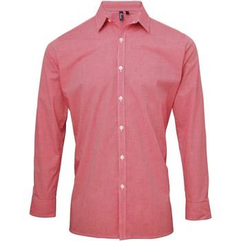 vaatteet Miehet Pitkähihainen paitapusero Premier Microcheck Red/White