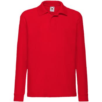 vaatteet Pojat Pitkähihainen poolopaita Fruit Of The Loom 63201 Red
