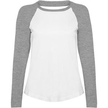 vaatteet Naiset T-paidat pitkillä hihoilla Skinni Fit SK271 White / Heather Grey