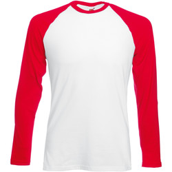 vaatteet Miehet T-paidat pitkillä hihoilla Fruit Of The Loom 61028 White/Red