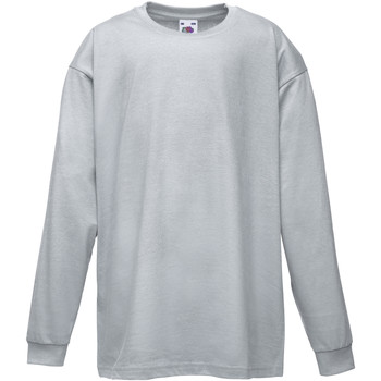 vaatteet Lapset T-paidat pitkillä hihoilla Fruit Of The Loom 61007 Heather Grey