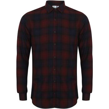 vaatteet Miehet Pitkähihainen paitapusero Skinni Fit Check Burgundy Check