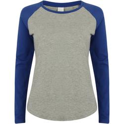 vaatteet Lapset T-paidat pitkillä hihoilla Skinni Fit SM271 Heather Grey / Royal