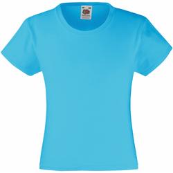 vaatteet Tytöt Lyhythihainen t-paita Fruit Of The Loom 61005 Azure Blue