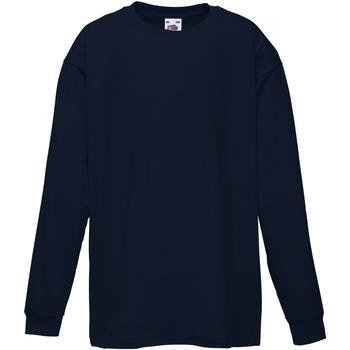 vaatteet Lapset T-paidat pitkillä hihoilla Fruit Of The Loom 61007 Deep Navy